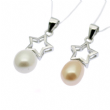 Pearl Pendant - 6-7mm  Drop Pearl, Sterling Silver mountings Star. Available in White & Pink